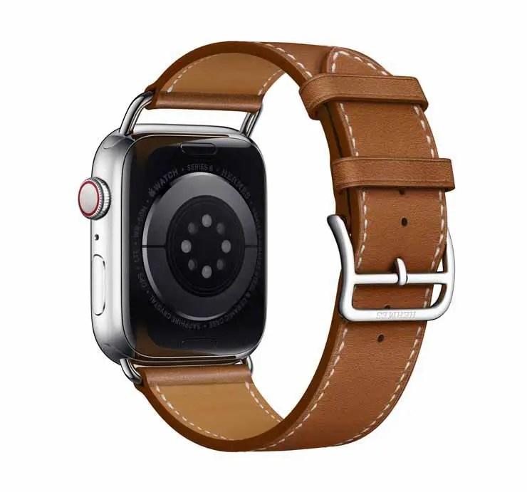 Apple Watch Hermes Series 6 44mm Fauve Barenia Calfskin Simple Tour Attelage Strap 4.