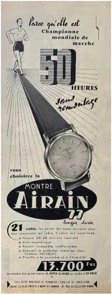 Airain Inserat aus den 50er Jahren