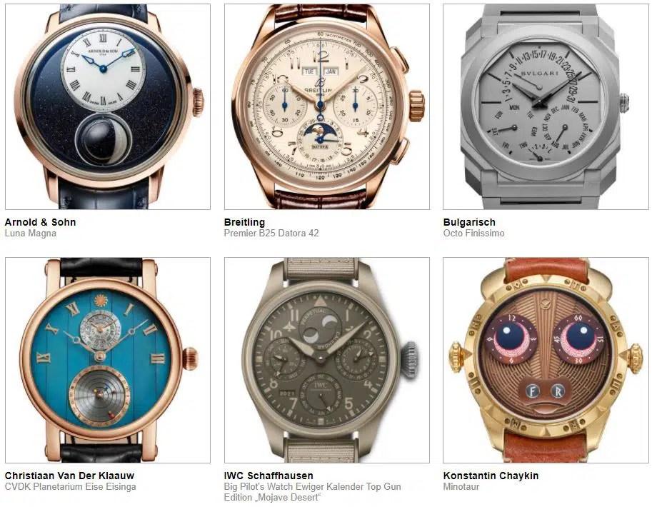 gphg 2021 nominierte Uhren Kalender und Astronomie