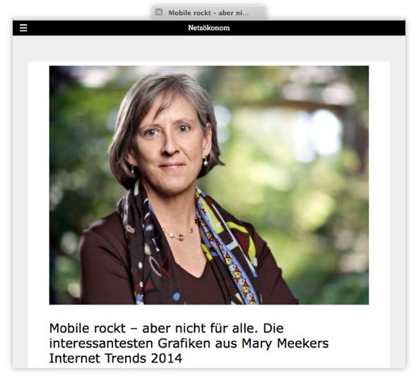 Mobile rockt - aber nicht für alle. Fingerzeig auf die interessantesten Grafiken aus Mary Meekers Internet Trends 2014 von Holger Schmidt
