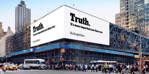 Droga5 minimalist truth billboard for the NYTimes