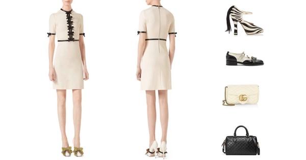 Gucci Bow Jersey Kleid und kostspielige Accessoires.