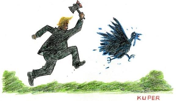 Nachdem er herausfand, daß Obama dasselbe tat, nimmt der Präsident seine Begnadigung zurück - Illustration Kuper