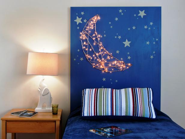 diy chambre enfant tete de lit etoile lune 8