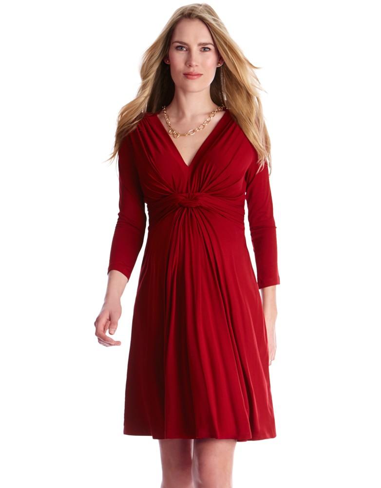 Robe de grossesse col en V nouée avec manches ¾, Séraphine