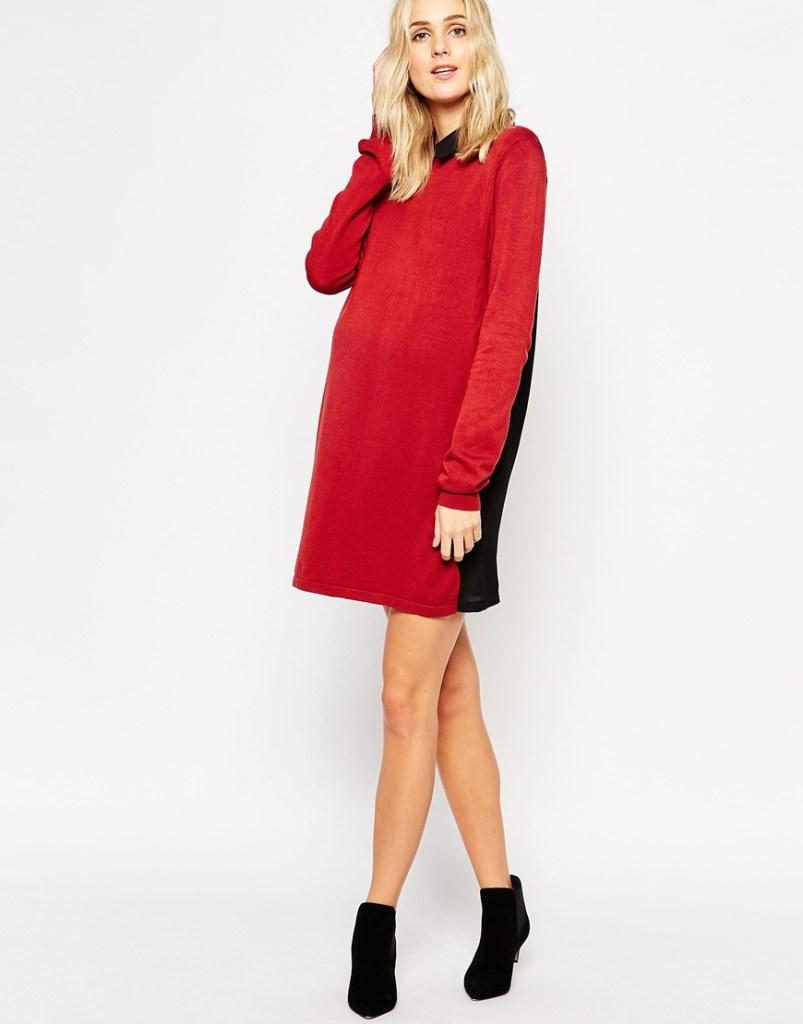 Mamalicious - Robe tunique en maille avec col contrastant 54.99 euros sur asos