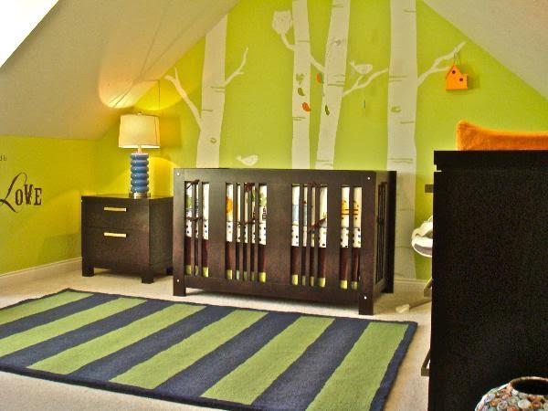 chambre déco boisées-neuf mois-vert
