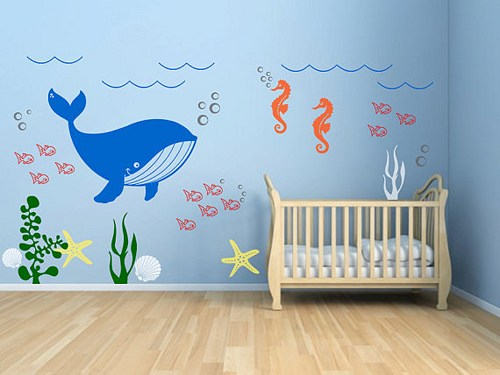 décorer la chambre de bébé-sous l'océan-neuf mois-baleine