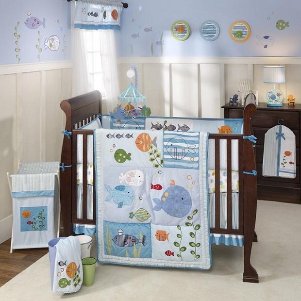 décorer la chambre de bébé-sous l'océan-neuf mois-poissons