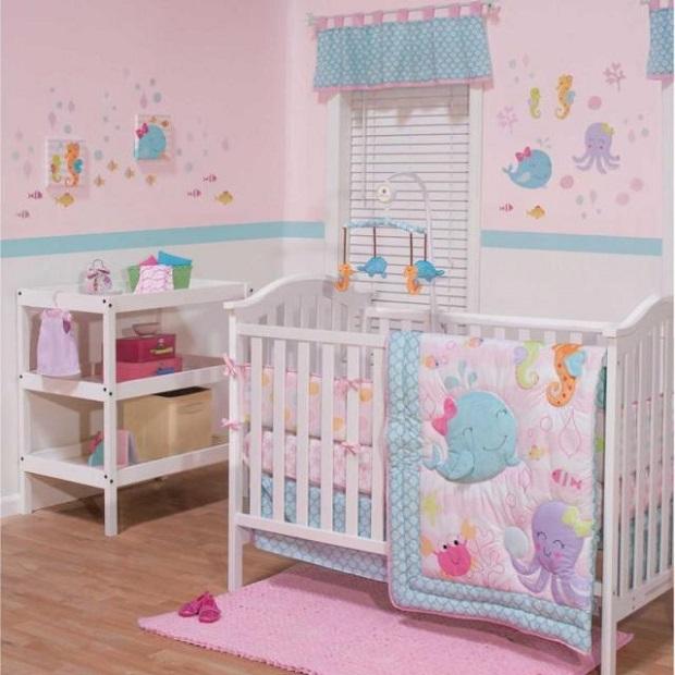 décorer la chambre de bébé-sous l'océan-neuf mois-rose