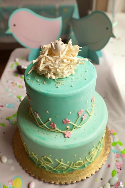 baby shower printanière-gâteau