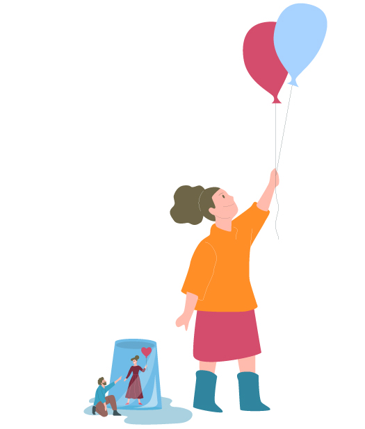 Eltern so groß wie ein glas. Tochter spielt daneben mit Luftballons