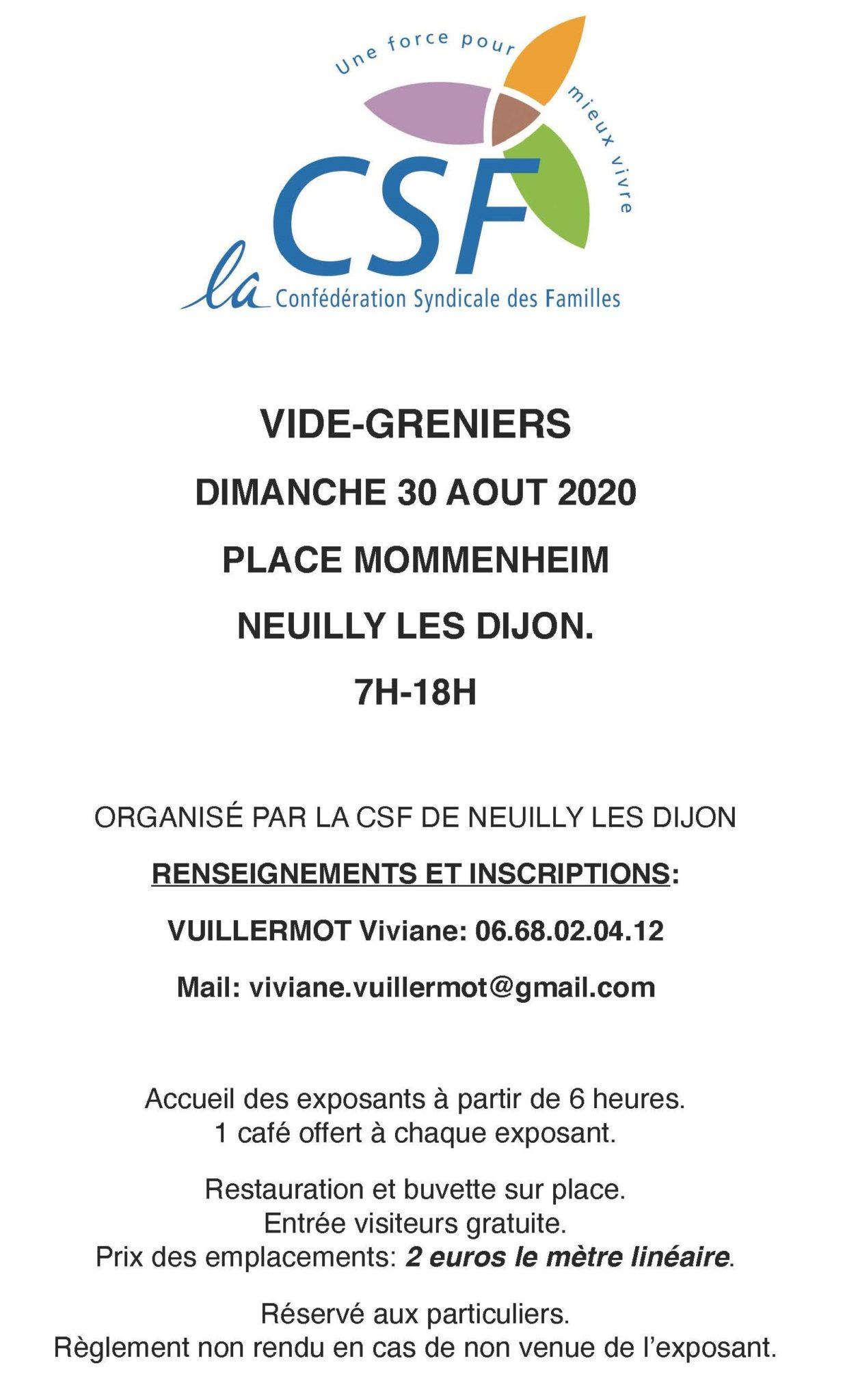 Vide-greniers – dimanche 30 Août – Place Mommenheim à Neuilly-lès-Dijon.