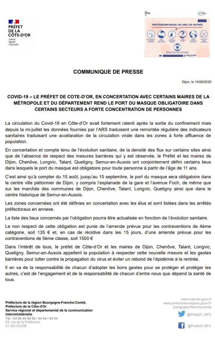 Communiqué du Préfet de la Côte d'Or : Du 15 août au 15 septembre, port du masque obligatoire dans certains secteurs à forte concentration de personnes.