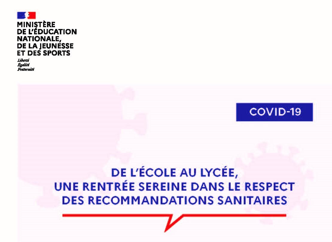 Rentrée scolaire 2020 : Consignes de la directrice de l'école primaire Henri Hirschy de Crimolois