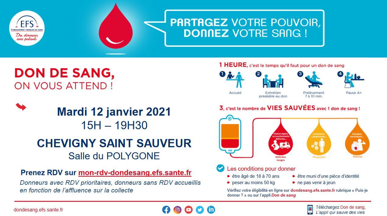 Collecte de sang le mardi 12 janvier Salle du Polygone à Chevigny-St-Sauveur.