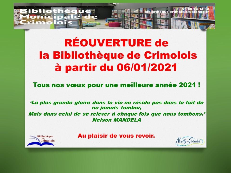 Réouverture de la bibliothèque de Crimolois ce mercredi.