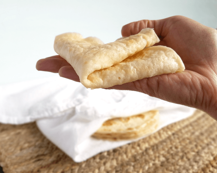 These grain free and gluten free almond flour tortillas are pliable and delicious! They're also easy to make, nutritious, Paleo, Vegan, and use Whole30 compliant ingredients. Finally, you can enjoy tacos again!