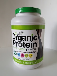 This vegan protein powder can be used to make the Chocolate Peanut Butter Banana Smoothie with Coffee