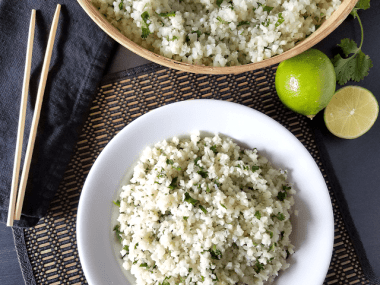 This Cilantro Lime Cauliflower Rice is delicious, versatile and nutritious as well as gluten-free, grain-free, dairy-free, nut-free, vegan, low-carb, Paleo, keto and Whole30 compliant. Plus, it's so easy that it can be ready in 10 minutes!