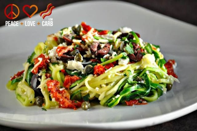 Mediterranean Zucchini Noodle Pasta by Peace Love and Low Carb