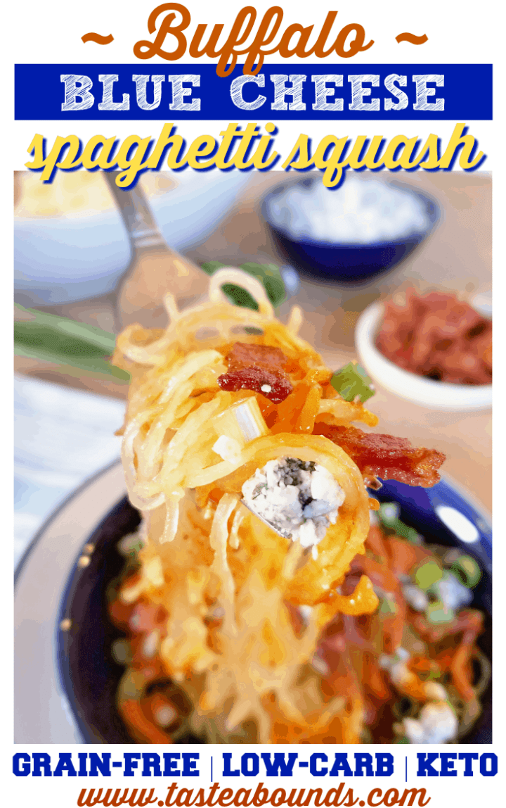 Low Carb Buffalo Blue Cheese Spaghetti Squash