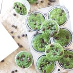 overhead photo of green muffins with chocolate chips in a muffin pan