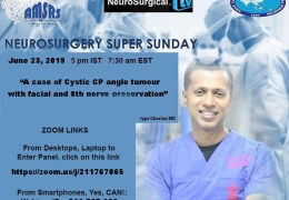 HERE LIVE, shortly…Neurosurgery Super Sunday, 5 pm IST, with Iype Cherian: Panelists Welcome, Students, Residents, fellow Members of the Brotherhood!
