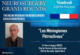 "le Vendredi, 28 Mai a 18h00 Heure de Paris, Pr Pierre-Hugues ROCHE presenta ""Les Meningiomes Petroclivaux"""