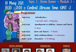 Tuesday, 7 pm Cairo time, May 18, Pediatric African Neurosurgery Webcast from the CAANS, with four Presentations