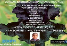 """Recorded, August 25, 2021: Jordan Neurosurgery Grand Rounds with Ibrahim Sbeih MD presenting """"Falcotentorial Meningiomas: Overview and Personal Experience"""""""