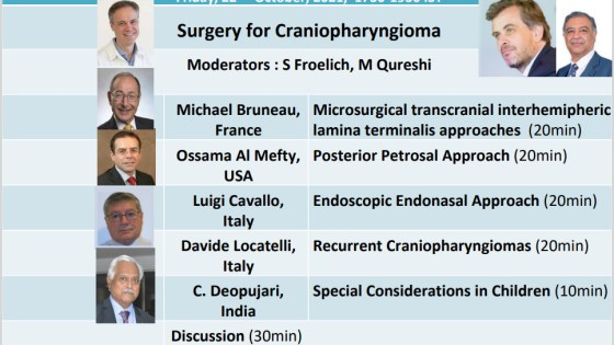 """RECORDED, OCTOBER 22, 2021, LIVE, LIVE………………""""Surgery for Craniopharynioma"""" in a Joint Symposium of WFNS Committees"""