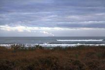 Blick auf White Island von Ohope Beach