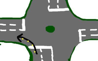 Links abbiegen im Kreisverkehr