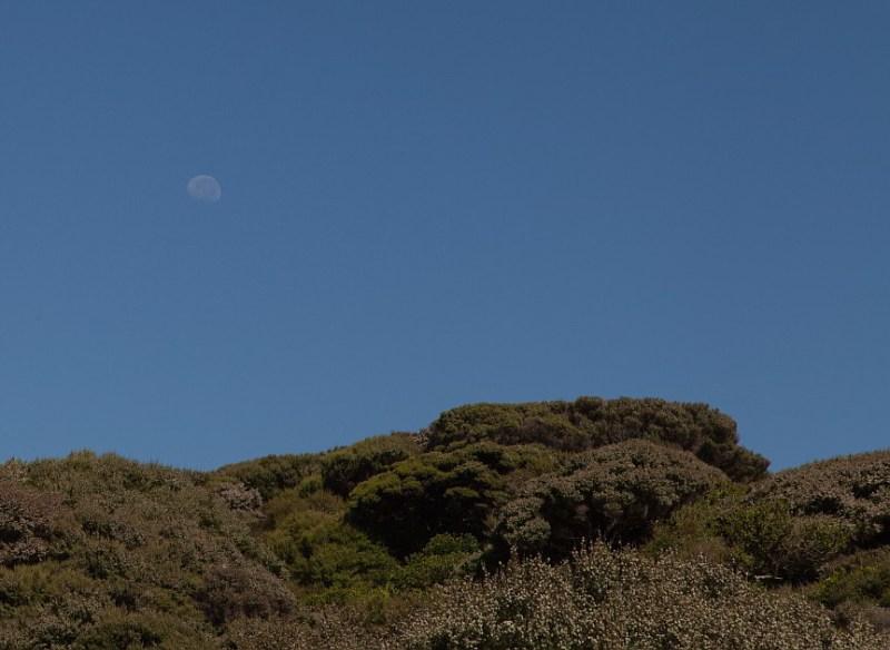 Mond über dem Hill Top track
