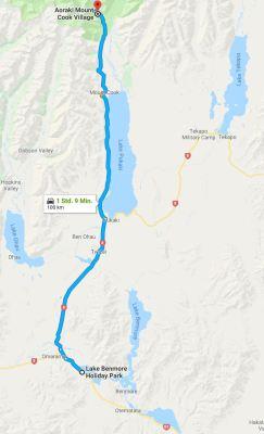 Reiseroute Lake Benmore nach Mount Cook