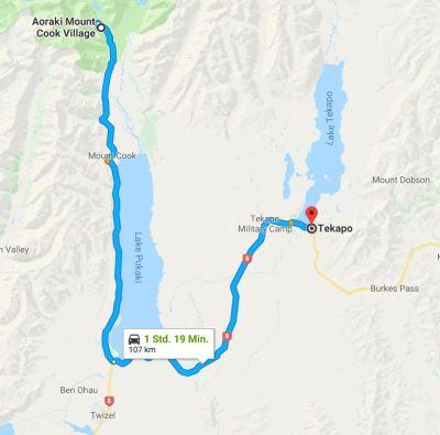 Reiseroute Mount Cook nach Tekapo