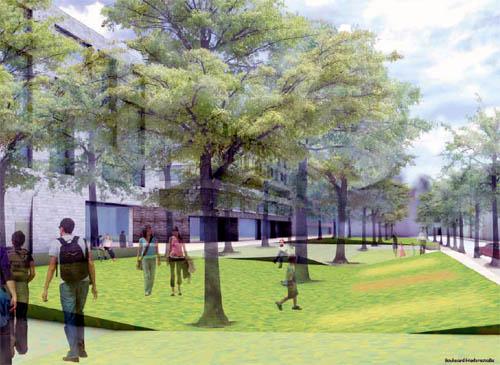 Ein grüner Boulevard soll parallel zur Friedensstraße entstehen.