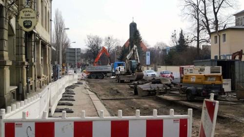 Die Bauarbeiten an der Bautzner Straße kommen gut voran.