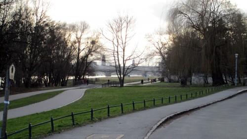 Im Februar 2015 ein harmolser Anblick: Elbe, Radweg und Weide an der Prießnitzmündung neben dem Diakonissenweg