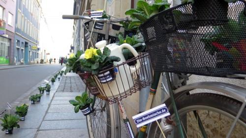 Fahrrad mit Blümchen und Blümchenkaffee