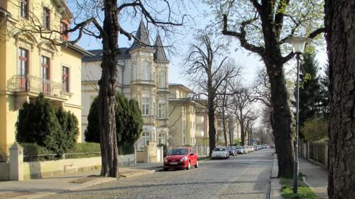 Blick in die Forststraße Richtung Bautzner Straße