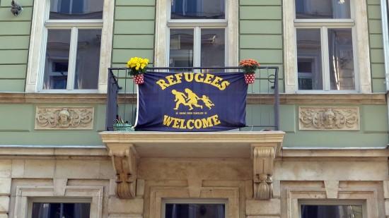 Refugees Welcome - gesehen an der Rothenburger Straße