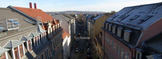 Louisenstraße von oben im Januar 2014