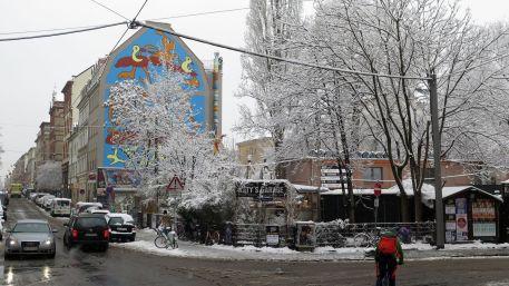 Winterbäume an Katys Garage.