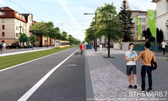Königsbrücker Straße: Variante 8.7 im Stadtrat beschlossen. Die Visualisierung für die Variante 8.7 für den Abschnitt zwischen Bischofsweg und Stauffenbergallee