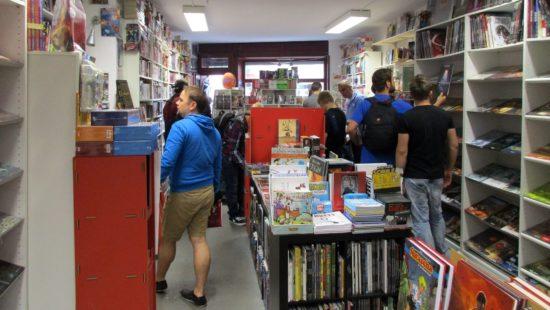 Buntes Treiben im Comicladen auf der Bautzner Straße.