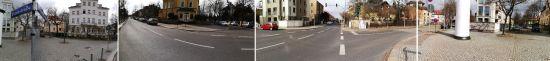 Die Kreuzung Bischofsweg, Forststraße, Stolpener und Löbauer Straße
