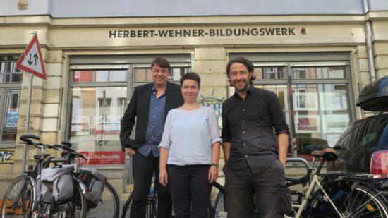 Christoph Meyer, Karin Pritzel und Christian Demuth vom Wehnerwerk.