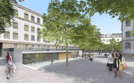 So soll der Hof der Dreikönigschule mal aussehen - Visualisierung: NBHG Architekten Dresden
